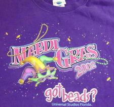 "Universal Studios 2002 MARDI GRAS Purple TEE SHIRT ""GOT BEADS?"" - XL Mens Adult"