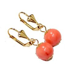 Coral Crystal 10mm Leverback Dangle Earring 18k Gold Plated French Clasp