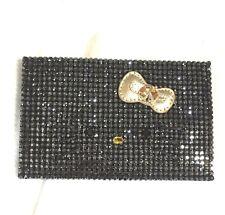 Swarovski Crystal Hello Kitty Gold Bow Black Business Card Holder 1168920 NIB