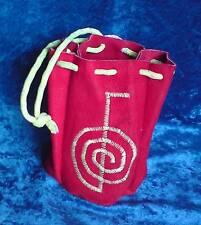 Reiki bag  purse floro UV reflective yellow embroidered cho ku rei drawstring