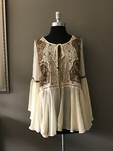 Free People Beige Sheer Gorgeous Embroidered Boho Top Blouse  Size S