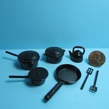 Dollhouse Miniature Kitchen Cookware Set in Black 10 Metal Pieces ~ G6106