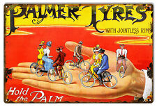 "Nostalgic Hold The Palm Palmer Tyre Bicycle Sign 12""x18"""