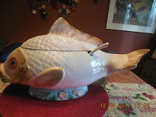 Koi Fish Shaped Ceramic Covered Soup Tureen with Laddle...MADE IN ITALY