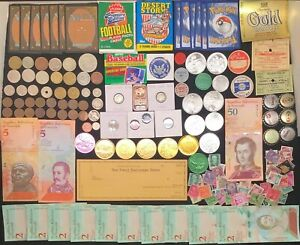 WOW-SILVER COIN Junk Drawer Lots VINTAGE*TOKENS* BANKNOTES *CARDS