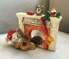 Vintage 1980's Christmas Fireplace Tea Candle Holder, Great Condition