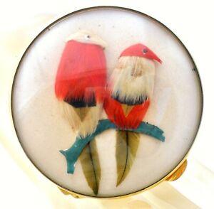 Rare Miref Bird with Red Feathers Compact Paris Vintage Vanity Mirror Handmade