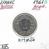 SUISSE - 1 FRANC - 1961B - Pièce de Monnaie en Argent // Qualité: TTB