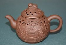 FINE CHINESE ZISHA PURPLE SAND TEAPOT FINELY CARVED NATURAL MATERIAL BY8230