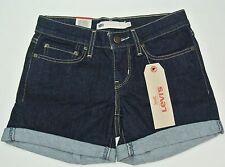 Levi's Women's Mid Length Slim Short Jeans Pants Shorts 24 Blue Dark Wash New
