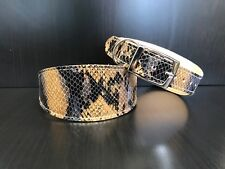Leather Dog Collar LINED Greyhound Lurcher Whippet Saluki BROWN SNAKE PRINT Uk