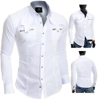D&R Men's White Casual Shirt Metal Zip Pockets Slim Fit Cotton Party Clubbing