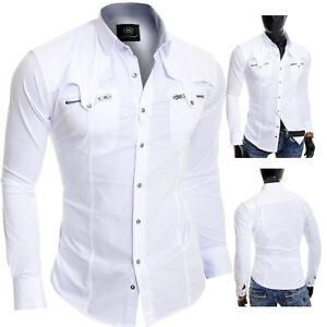 D&R Men's White Casual Shirt Metal Zip Pockets Slim Fit Cotton Party Clubbing