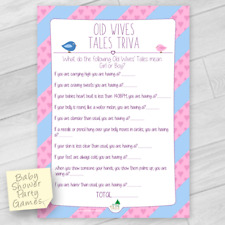 BABY SHOWER GAME - OLD WIVES TRIVIA , GENDER REVEAL PARTY GAME 15 PLAYERS
