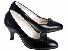 Vintage Womens Heels Black Leather Pumps Shoes Nib 1950s Size 6.5E