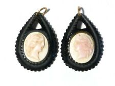 Antique Victorian Jet Earrings Pendants with Inlaid Cameo Coral Carvings A/F