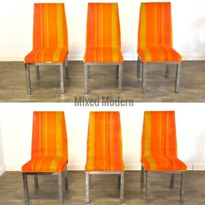 Orange and Chrome Modern Dining Chairs - set of 6