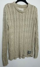 SUPERDRY MENS CABLE KNIT JUMPER SWEATER M BEIGE WOOL BLEND 034