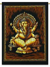 Lord Ganesha Indian Hanging Cotton Wall Tapestry Poster Size Black Decor Throw