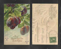 1911 MAY EASTER JOYS BE EVER THINE { FRUIT TREES - EMBOSSED } POSTCARD