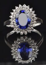 1.95 Carat 925 Sterling Silver Natural Blue Tanzanite Oval Shape Engagement Ring