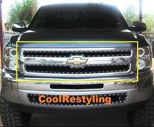 For 07~13 Chevy Silverado 1500 Black Wire Mesh Rivet Stud Grille Inserts