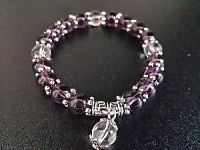 8mm Amethyst Purple bead Flex Bracelet + Pouch
