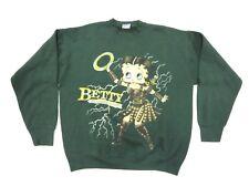 """90s retro Betty Boop """"WARRIOR PRINCESS"""" Green Adult Men's Crew Neck Sweatshirt"""
