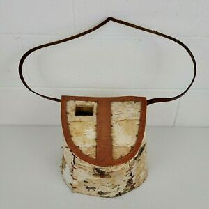 Authentic Vintage Hand Crafted White Birch Bark Wood Fishing Creel With Strap