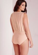 Missguided Size 12 Slinky Metallic Beige Pink Bodysuit Leotard Sample Brand New