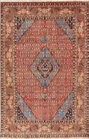 One-of-a-Kind Geometric Ardebil Persian Oriental Hand-Knotted Wool Area Rug 6x10