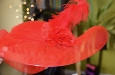 Victorian Edwardian Vintage Style Hat Red Halloween Cosplay Costume Feather