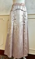 NEW - Pale Pink Metallic Full Length Plaited Seam Pleated Statement Skirt S 8/10