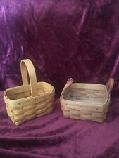 Two Longaberger Small Baskets With Leather Handles And Single Handle Euc