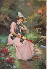 ELEGANT LADY IN HAT  Old World Sofa Size Painting on Canvas by R. Zuranna