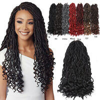 "18"" Ombre Faux Locs Curly Twist Braid Synthetic Wavy Lock Crochet Hair Extension"