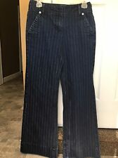 New York And Company Womens Classic Pants Striped Blue Jeans Stretch Size 6