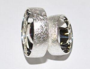 925 Silber Trauringe Eheringe Rhodiniert - Paarpreis - Breite 7mm - Eismatt