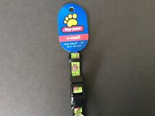 Top Paw Dog Collar with Cute Pink Paw Print Pattern Green and Black X-Small Size