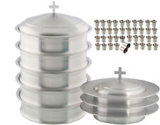 Communion Tray Set of 5 & 3 Stacking Bread Plate + 1 Lid +200 Glasses (Steel)