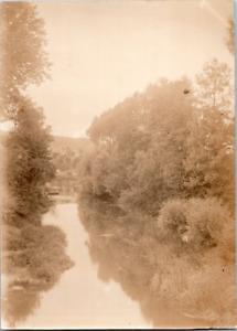 Nature, forêt et rivière Vintage silver print Tirage argentique  8x11  Cir