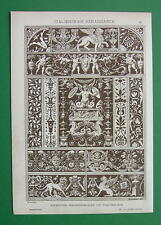 RENAISSANCE Ornaments Sgraffitos Wood Mosaics - Antique Tinted Litho Print