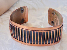 "Fashion Jewelry Copper with Black Stripes, Bangle, 1"" Wide, 23.4 grams, Good Con"