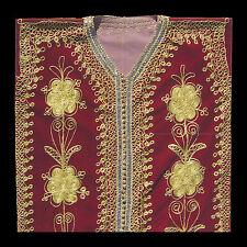 ABITO ORIENTAL DONNA Amaranto lungo ricamo in oro manica lunga spacchi laterali