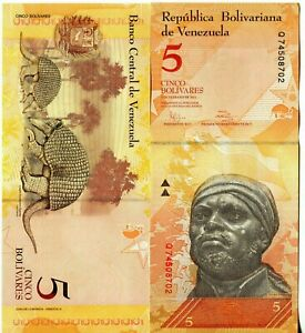 Venezuela Banknote 5 Bolivares 2011 Papiergeld Geldschein aus Südamerika UNC.