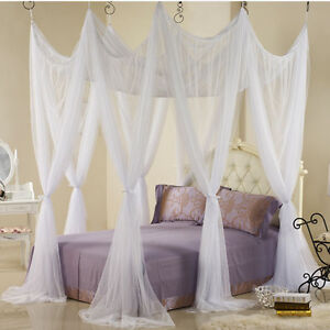 Bed canopy heavy netting curtain 8 door hook queen California king size white