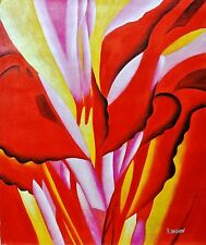 R.Bashan-Red Canna(Reproduct)-Orig Oil Painting/Canvas,Hand Signed by the Artist