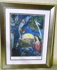 "Chagall ""Around Her"" Rare Framed Lithograph,signed,limited edition w/certificate"