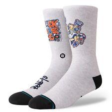Stance Men Grey Crew Rock Rubber 45S Graphic Pattern Casual Socks L 9-12