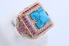 Turkish Jewelry Square Turquoise Ruby Topaz 925 Sterling Silver Ring Size 9.5